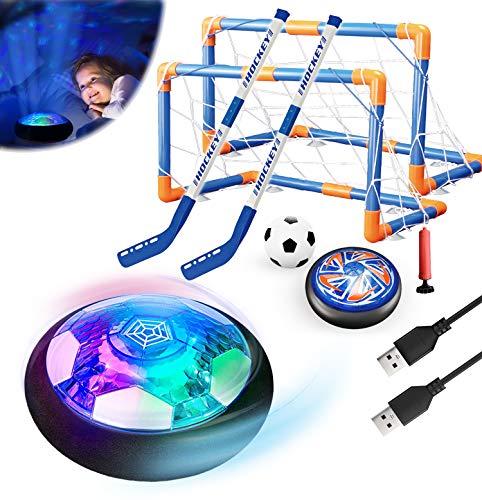 Magicoco 3in1 Hover Fußball Hockey Balls Kinder Spielzeug Set Stern Nachtlicht Interaktive Sportspiele USB Wiederaufladbare Eva Stoßstange Geschenk für 6-16 Jungen Mädchen Geburtstag Weihnachten