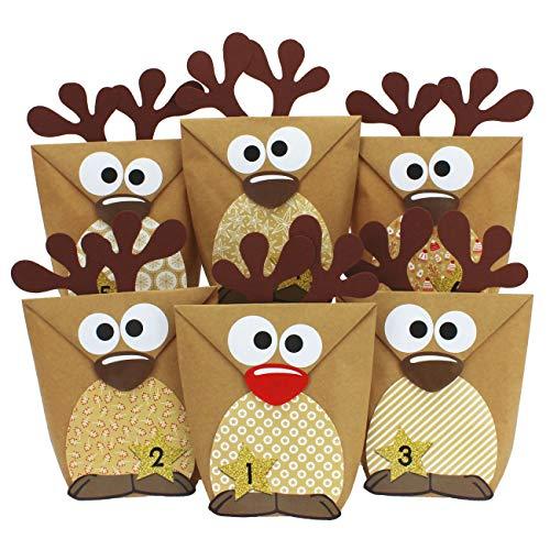 Papierdrachen DIY Adventskalender zum Befüllen - Rentiere mit braunen Bäuchen zum selber Basteln - 24 Tüten zum individuellen Gestalten und zum selber Füllen - Weihnachten für Kinder
