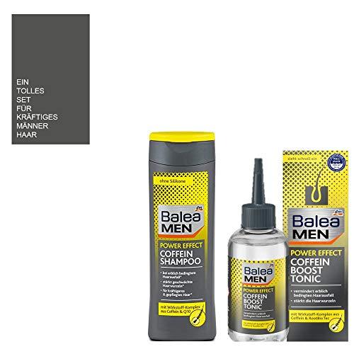 3tlg. Haarausfall SET: Balea MEN 1 x 250ml Balea Shampoo Coffein Power Effect + 1 x 150ml Balea MEN Haarwasser Power Effect Coffein Boost Tonic + Aufbewahrungssäckchen von STUDIO.MUNET