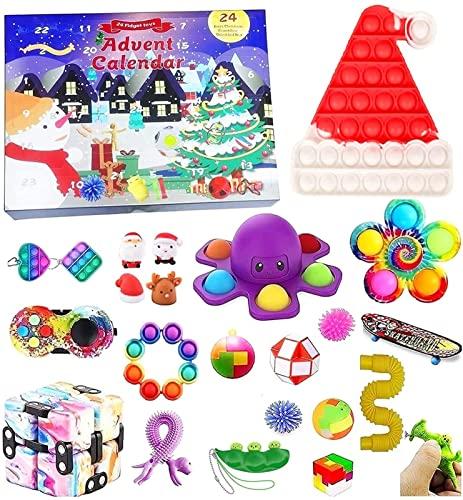 DIELUNY Spielzeug Adventskalender 2021 Weihnachten, 24 Stück Fidget Adventskalender Kinder Urlaub Weihnachten Countdown Kalender Fidget Toys Pack (Farbe: B3)