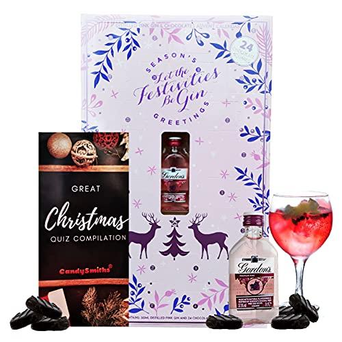 Gordon's Pink Gin Adventskalender mit Weihnachts-Quiz - 1 x 5cl Gin Premium destillierte Miniatur 24 Pralinen Gin Adventskalender 2021 - Gin Adventskalender für Frauen