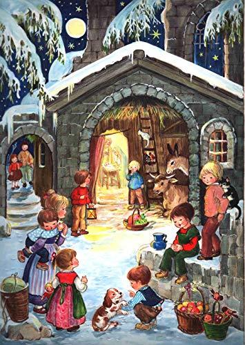 Nostalgischer Adventskalender / Weihnachtskalender für Kinder und Erwachsene mit Bildern und Glimmer 'Am...