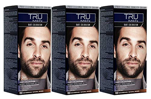3x TRU Professional MEN Bart-Coloration 60-Naturbraun (3´er Pack)