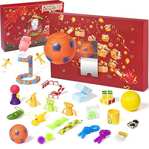 GAMENOTE Fidget Adventskalender 2021 Weihnachten 24 Sensory Toys Pop Set Stress Relief Countdown Kalender für Kinder Überraschungen Paket Mädchen und Jungen