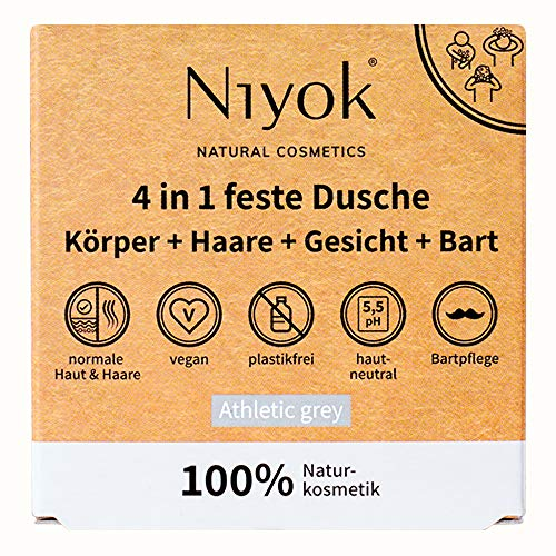 Niyok® 4 in 1 feste Dusche | Körper, Haare, Gesicht und Bart | hautneutral pH 5,5 vegan plastikfrei | wie...
