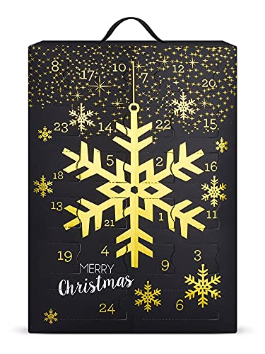 SIX Schmuck-Adventskalender mit Schneeflocken-Design: 24 Überraschungen in Form schöner Schmuckstücke wie Ohrringe, Ketten und Armbänder, zum Aufhängen oder Hinstellen (388-320)