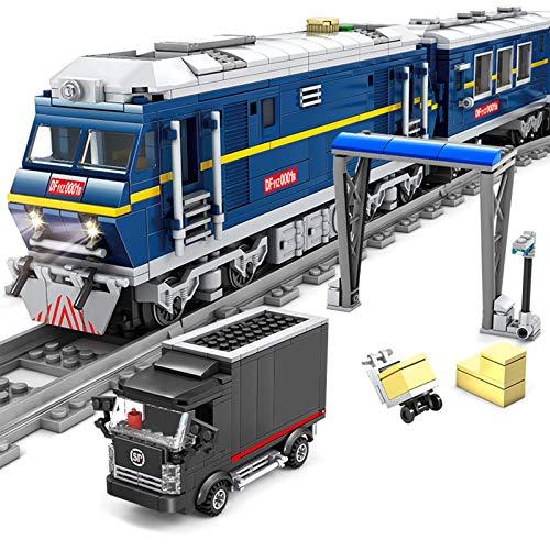 ZJLA Adventskalender Zug Track Set DIY Baustein Modell Lokomotive Zug Spielzeug mit Licht, 1174+Pcs Kompatibel mit Lego Technic (Zug Df 11z)