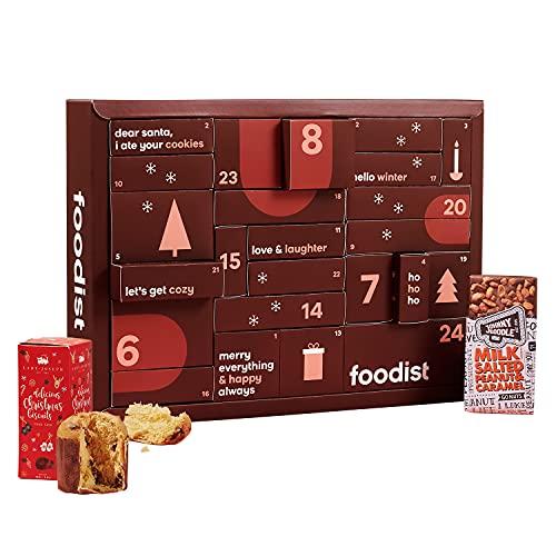 Foodist Gourmet Adventskalender 2021 mit 24 internationale Snacks wie Chips, div. Schokolade, Gebäck, salzigem Nuss-Mix, Fruchtgummis uvm. - exklusive Geschenk für Paare inkl. Rezept-Buch & DIY Tipps