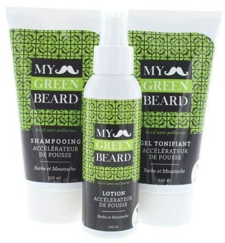 Bart Wachstumsbeschleuniger Lotion + Shampoo + Gel - My Green Beard für schnelleres Bartwachstum, Bartpflege...