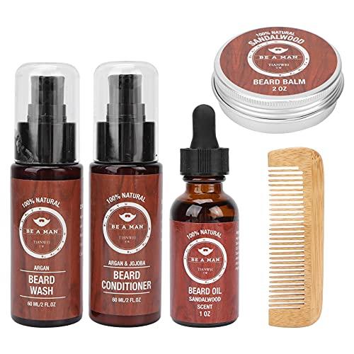 Bartpflege-Set für Männer, Bartpflege-Set mit Bartöl Bartbalsam Bartshampoo Bartspülung Bartkamm Bartwuchs-Set