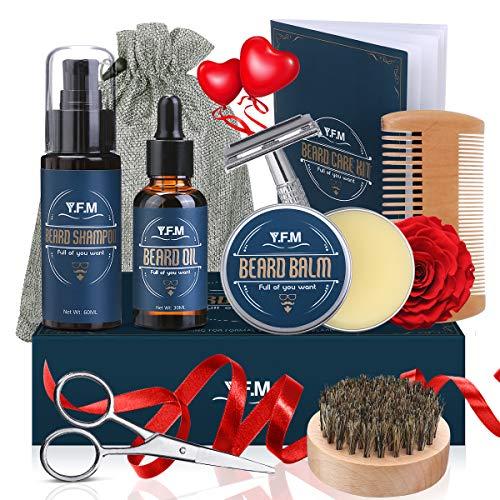 Bartpflege Set, Y.F.M 8 IN 1 Männer Bart Styling Reinigung Werkzeug, Men Beard Care Kit mit Bartshampoo,...