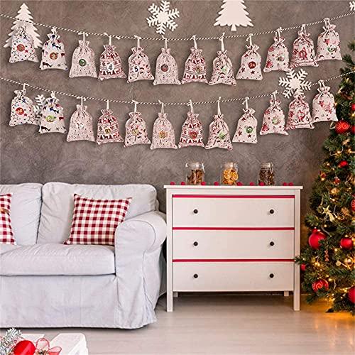 ROUNYY Weihnachtsbaum Adventskalender,mit 24 DIY Stoffbeutel mit 24 Weihnachtsabzeichen als Geschenk-Verpackung Weihnachten DIY Weihnachtsbaum als Geschenk-Kalender (red)