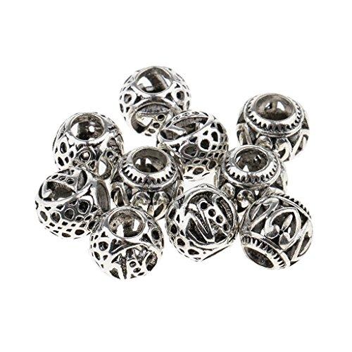 10er-Set Antik Silber Dreadlocks Perlen Haar Bart Dekoration Zwischenperlen Flechten Zöpfe Haar Perlen Haarschmuck