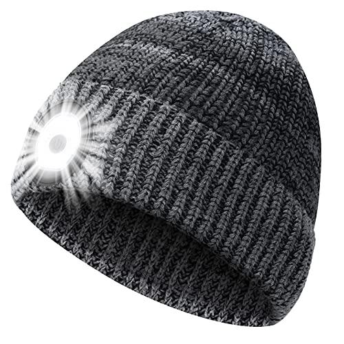PASTACO Geschenke für Männer Mütze mit LED Licht Gadget für Männer Frauen Haube mit Licht, Männer Geschenke Weihnachten LED Mütze Männer Winter, Adventskalender Stirnlampe