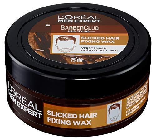 L'Oréal Men Expert Haarwachs für Männer, Haarstyling für einen glatten und glänzenden Look, Barber Club Slicked Hair Fixing Wax, 1 x 75 ml