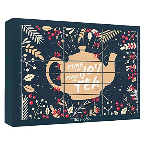 Tee-Adventskalender von FROG.coffee   Doppelter Genuss - 48 Teebeutel   Teekanne, ChariTea, Meßmer, Cupper, Bünting uvm.   Plastikfreies Box-in-Box-System   Bio-, Kräuter & Früchte-Tee   Edition 2021