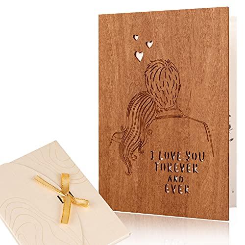 Creawoo handgefertigte Holz Liebe Grußkarte, I Love You Forever & Ever Holz Jahrestag, Geburtstags, Hochzeit Grußkarte für Sie Ihn Ehefrau Ehemann