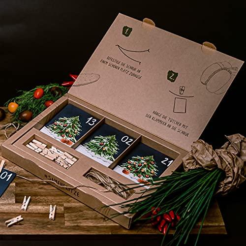 Saatgut Adventskalender 2021 Gemüse und Kräuter Geschenkset samenfeste Samen
