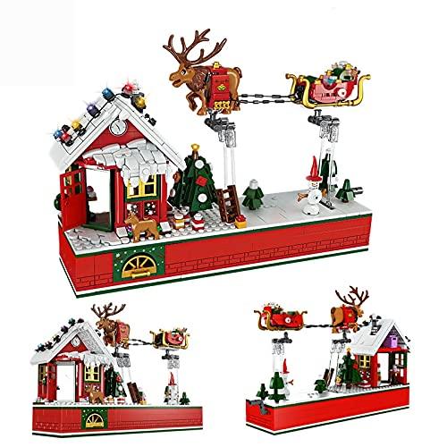 CALEN Weihnachten Geschenk Bausteine Modell, 940 Teile Weihnachtsfeier Elchschlitten Auto Adventskalender 2021 Weihnachtsspielzeug, Kompatibel mit Lego