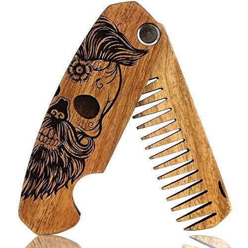 Bartkamm Holz Klappbar Taschenkamm klappkamm antistatische Bartpflege bart kamm aus holz holzkamm (MRG07)