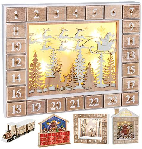 Brubaker Wiederverwendbarer Adventskalender aus Holz zum Befüllen - Fliegender Weihnachtsmann mit LED-Beleuchtung - DIY Weihnachtskalender 35.5 x 6 x 27 cm