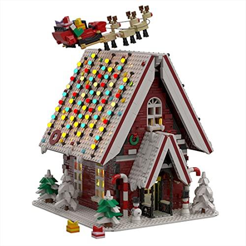 CALEN Weihnachten Schneehaus Bausteine Bausatz, 2840 Klemmbausteine Winter Weihnachtsmann Adventskalender 2021 Modell Kit, Kompatibel mit Lego (Ohne Licht)