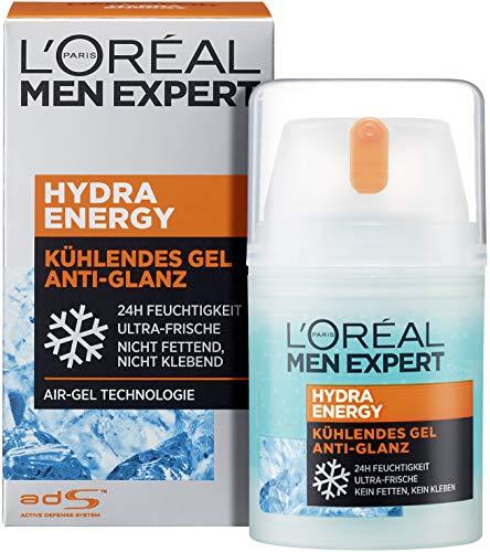 L'Oréal Men Expert Gesichtspflege für Männer, Mattierende und kühlende Feuchtigkeitscreme, Hydra Energy Kühlendes Gel Anti-Glanz, 1 x 50 ml