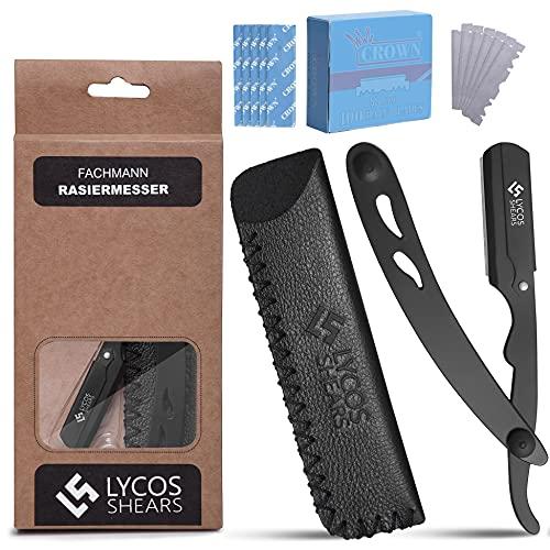 LYCOS SHEARS Rasiermesser Set mit 100 Rasierklingen. Professionelle Friseur Rasierer 100% Super Edelstahl - Barbier Rasier Messer für präzise Bart-Nassrasur für Männer