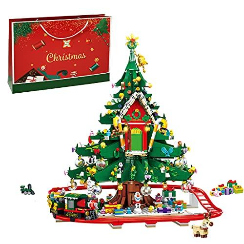 Myste Weihnachten Bausteine Bauset, 2126 Teile 2021 Weihnachten Baumhaus Zug Adventskalender Modular Haus Architektur Modell, Klemmbausteine Kompatibel mit Lego Weihnachten