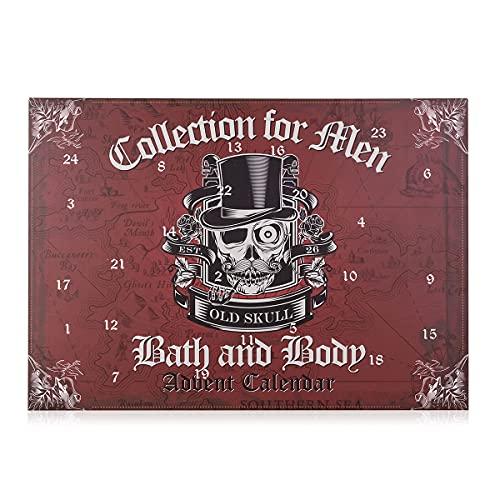 accentra Adventskalender für Männer im Totenkopf - Design, Stylischer Beauty Herren Weihnachtskalender mit 24 Kosmetik und Wellness Überraschungen