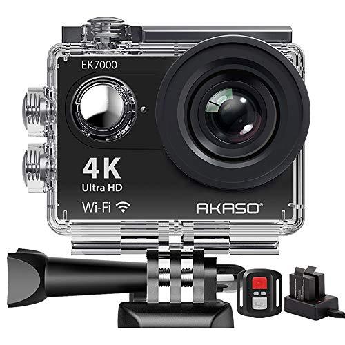 Action Cam,AKASO 4K WiFi Action Kamera/Unterwasserkamera 170°Ultra Weitwinkel Full HD Sports Kamera mit 12MP...