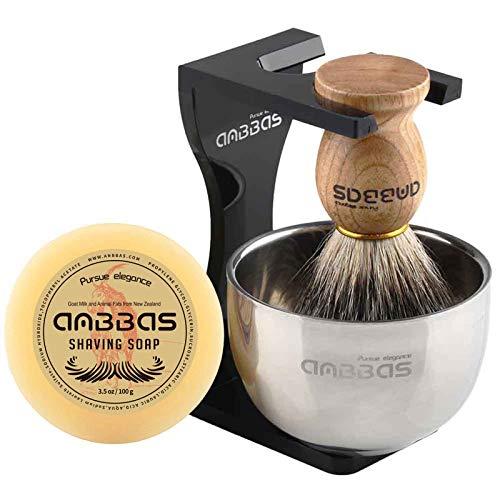 Rasierset Luxus Herren Geschenk Set Rasierpinsel reines Dachshaar silberspitz shaving brush badger Rasierseife...