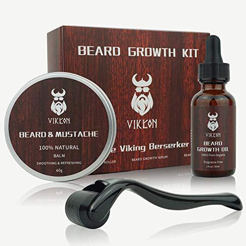 Beard Growth Kit, VIKICON Bartpflege Set, Bartwachstum Kit für Männer, Bart Derma Roller Bartwachstum Serum...
