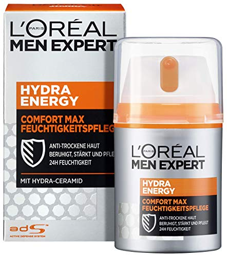 L'Oréal Men Expert Gesichtspflege für Männer, Feuchtigkeitscreme für sensible und trockene Haut, Hydra Energy Comfort Max Feuchtigkeitspflege, 1 x 50 ml