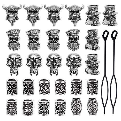 YMHPRIDE 30 Stück Wikinger Bart Perlen Antike nordische Haarschlauch Perlen Piraten Schädel Dreadlocks...