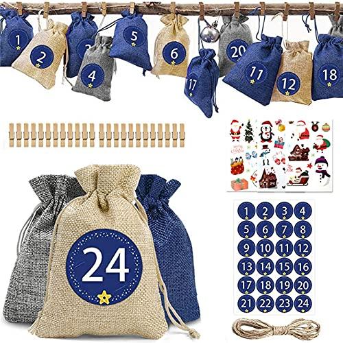 WlP 24 Adventskalender 2021 Weihnachten Countdown Kalendertaschen DIY Adventskalender Set Kalendertasche Advent Mit Adventszahlen Sticker Zum Befüllen Für Weihnachtsdeko