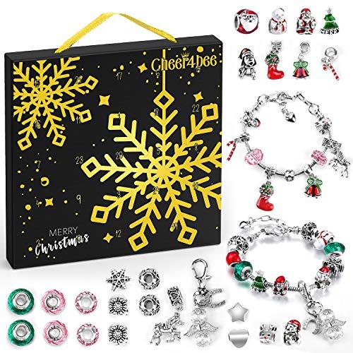 Riclahor Schmuck Adventskalender 2021, Adventskalender Kinder Mädchen, 24 Überraschungen Armband Kit, Halsketten, Schlüsselanhänger, Charms, Weihnachtskalender für Mädchen.
