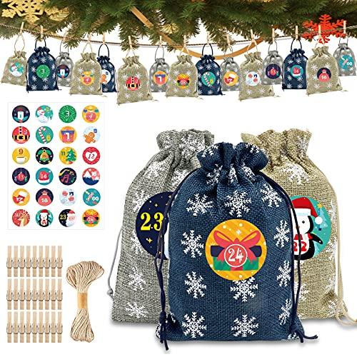 Adventskalender zum Befüllen, Weihnachtskalender Stoffsäckchen zum Selberfüllen, 24 Weihnachten Geschenksäckchen, mit 1-24 Adventszahlen Aufkleber, Adventskalender zum Befüllen Kinder