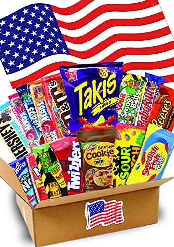 2 KG MEGA Amerikanische Süßigkeiten Box - USA Sweets - Takis - Perfekte Geschenkidee - TOP Bestseller - USA Import - 35x25x10cm