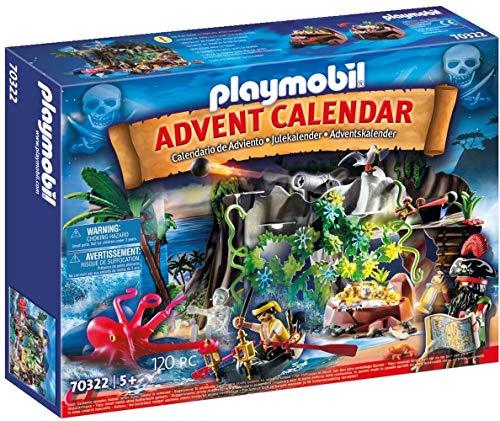PLAYMOBIL Adventskalender 70322 Schatzsuche in der Piratenbucht mit zahlreichen Figuren, Tieren und Zubehörteilen hinter jedem Türchen, 120-teilig, Für Kinder ab 5 Jahren