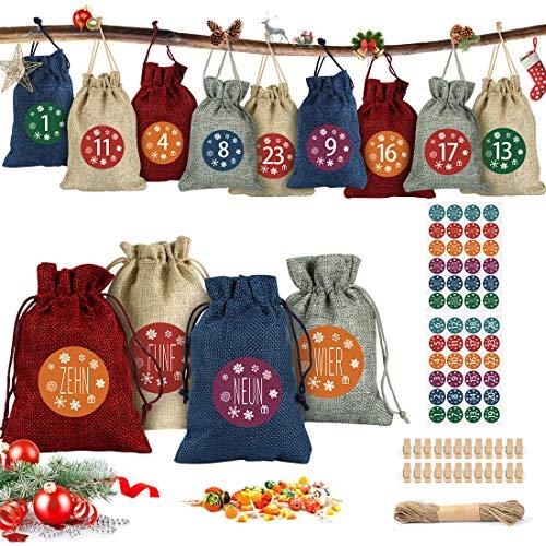 Adventskalender zum Befüllen, 24 Adventskalender Tüten, mit Zahlenaufklebern, Adventskalender Selber Befüllen, für Weihnachten 2020 zum Basteln und Verzieren, Weihnachts-Geschenktüte zum DIY