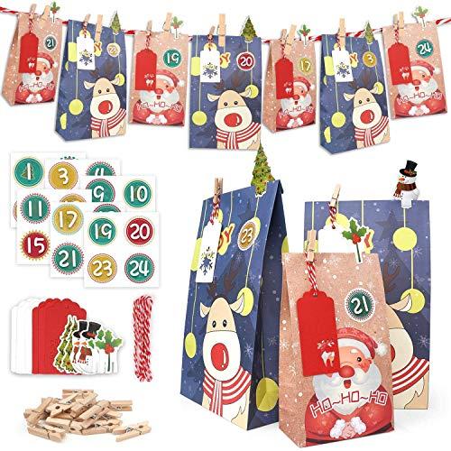 ONEHAUS Adventskalender 2021, Adventskalender zum befüllen groß, Geschenk Papiertueten Zum Selber Befüllen Basteln Pinguin Advents Tüten, Adventskalender 2021 Kinder selberfüllen