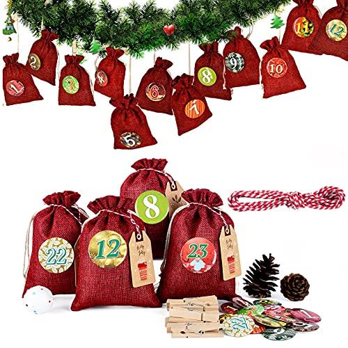 Miuezuth Adventskalender Kette zum Befüllen und Aufhängen, 2021 Weihnachten Geschenksäckchen Deko Jute-säckchen zum Selberfüllen, jutebeutel, Stoffbeutel, 24 Zahlen Buttons von DIY (Rot)