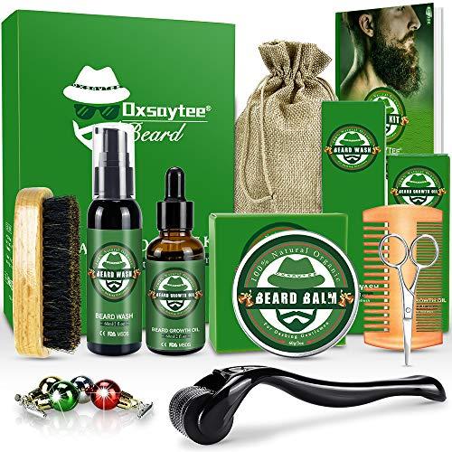 Bartpflege Set mit Bartwuchsmittel für Männer, Bart-set 12-Teilig für Bart Derma Roller Balsam Bartshampoo,...
