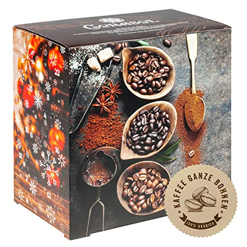Corasol Premium Flavoured Coffee Kaffee-Adventskalender XL 2021 mit 24 aromatisierten Kaffee-Kreationen, ganze Bohnen für Genießer (240 g)
