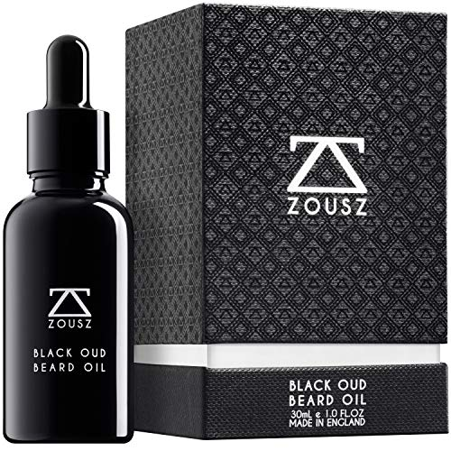 ZOUSZ Bartöl - Duftende Pflegeformel aus schwarzem Oud-Holz mit natürlichen Avocado-, Argan-, Macadamia-Ölen - Nicht-fettendes Bartpflege-Öl - Vegan-freundliches Geschenk für Männer - 30mL