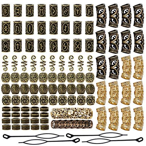YMHPRIDE 110 Stück Wikinger Bart Perlen Antike nordische Haarschlauch Perlen Dreadlocks Perlen für Haar...