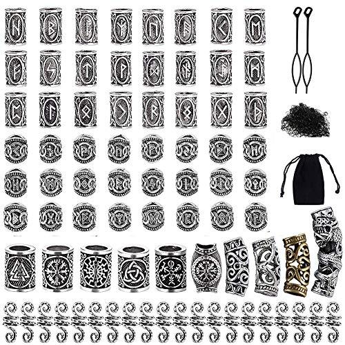 Queta 80 Runeperlen Set mit 300 Gummibänder Wikinger Bart Perlen Antik DIY Haar Bartperlen Nordische...