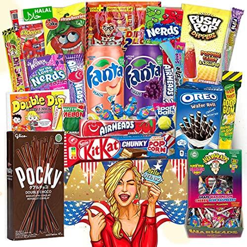 Süßigkeiten aus aller Welt inkl. tolle Getränke | 24 Teile Süßigkeiten Box Großpackungen Amerikanische Süssigkeiten Mix, USA Jumbo Box, Geschenkidee für Anlässe wie Geburtstage, Partybox