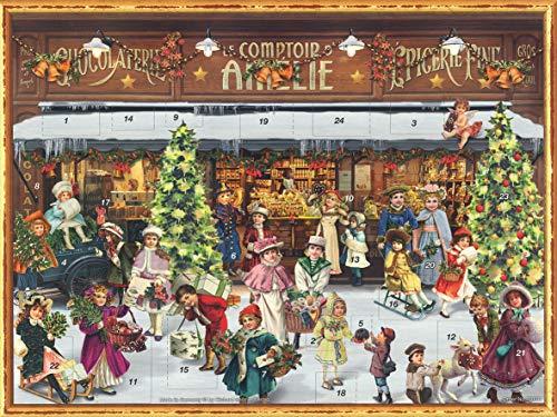 Nostalgischer Adventskalender aus Papier mit Bildern und Glitzer für Kinder und Erwachsene 'Viktorianischer...